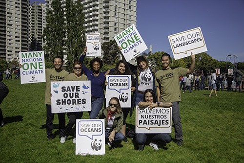 WWF supporters and staff get ready for the Rise For Climate Mobilization