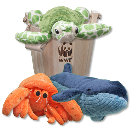 Wooden bucket with sea turtle plush, hermit crab plush and blue whale plush
