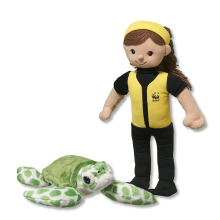Marine biologist doll and sea turtle plush