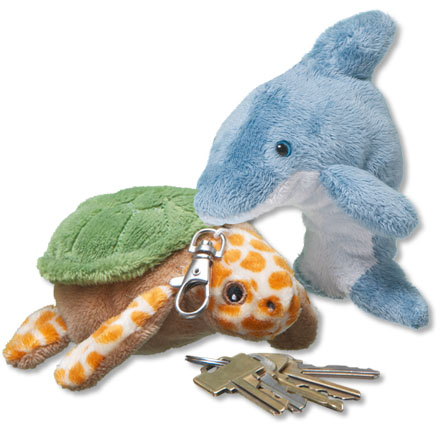 Sea turtle plush and dolphin plush on keychains