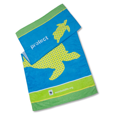 Blue and green colored sea turtle towel with panda logo