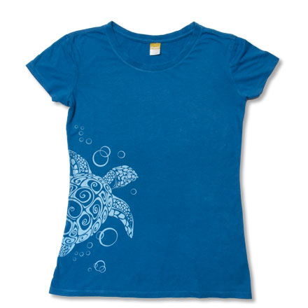 Blue t-shirt with white sea turtle graphic