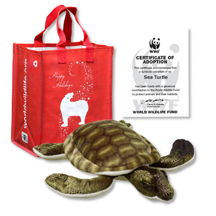 Sea turtle plush, holiday gift bag and adoption certificate
