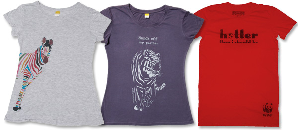 Zebra T-shirt, 'Hands off my parts' tiger T-shirt and 'Hotter than I should be' T-shirt