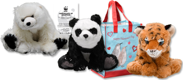 Giant panda, tiger and polar bear plushes, adoption certificate and valentine gift bag
