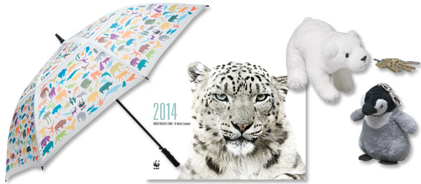 2014 calendar, golf umbrella, and polar bear and penguin keychains