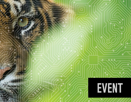 Tiger's face illustrated with microchip design