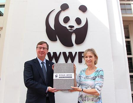 WWF staff holding petition of 1 million signatures