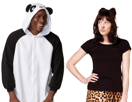 People wearing panda and wild cat costumes
