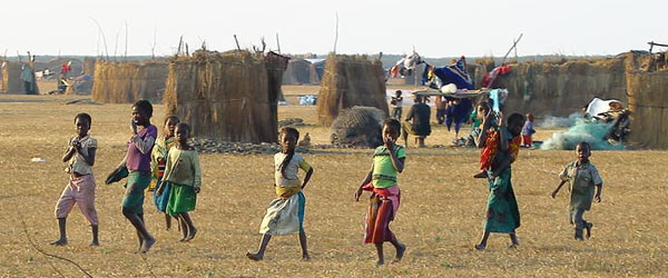 Children walking in Zambian village