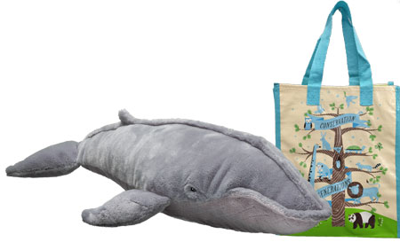 Blue whale plush and tote